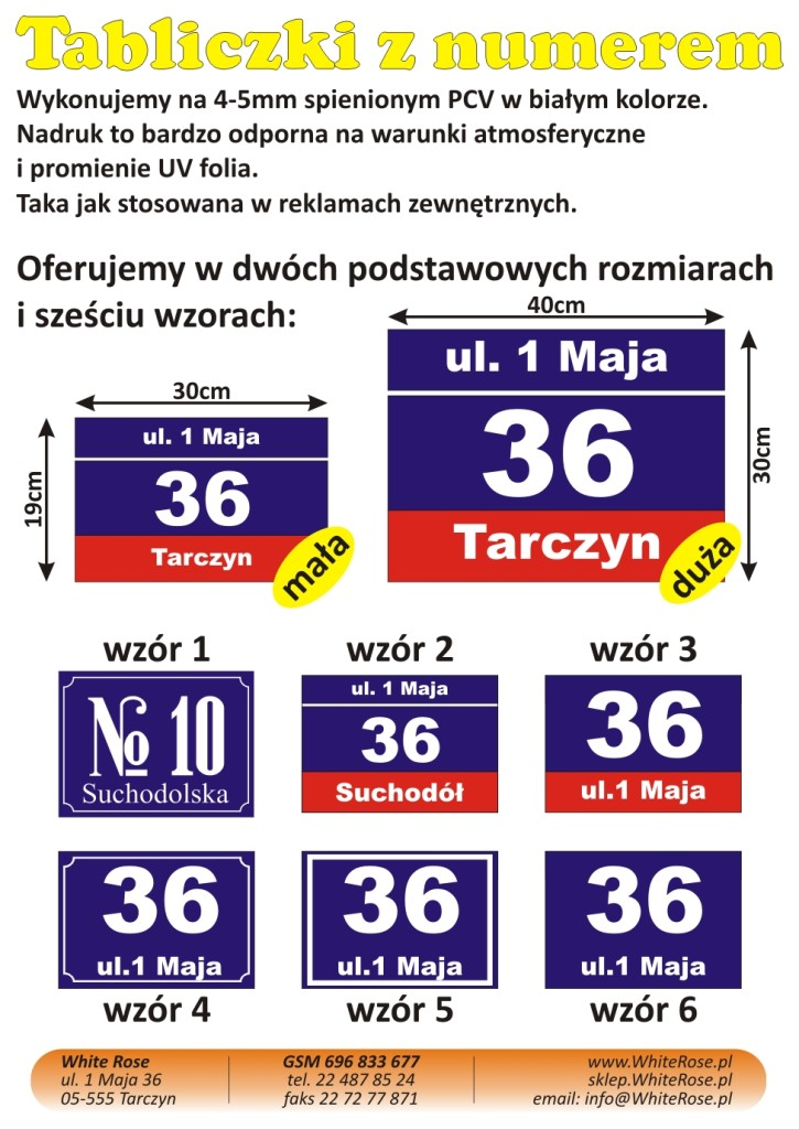 OFERTA A6 na tabliczki z numerem 2015-02-18
